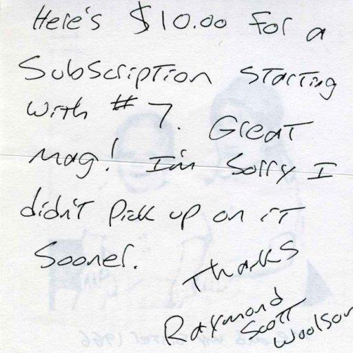 note from Raymond Scott Woolson